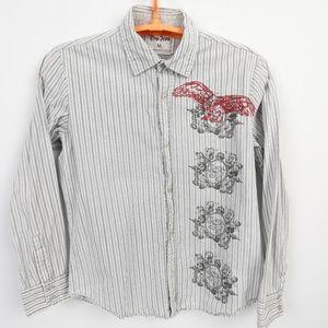 Pop Icon Buckle Grey Black Striped Shirt XL